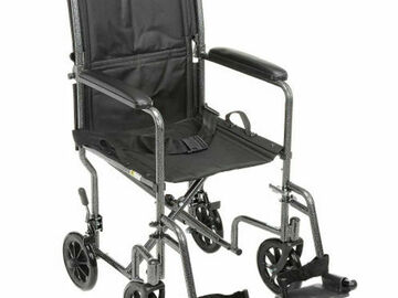 """SALE: Lightweight Steel Transport Wheelchair, 19""""W Seat, Silver Vein Fr"""
