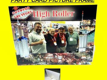 """Buy Now: """"High Roller"""" Party Card Picture Frame With Easel- Holds A 5″ X 7"""
