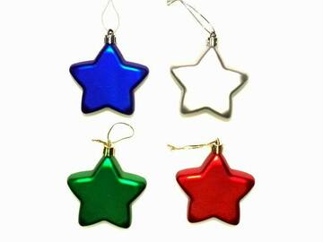 Buy Now: Bulk Assorted Color Shatter Resistant Christmas Star Ornaments –