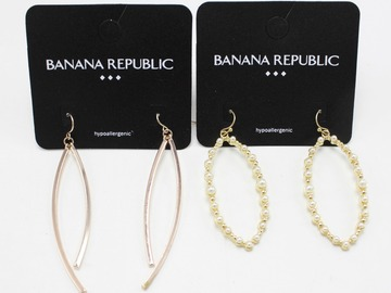 Liquidation/Wholesale Lot: Dozen Rose Gold & Gold Pearl Banana Republic Earrings