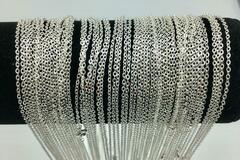 Liquidation/Wholesale Lot: 72 Pcs Fine Cable Chains Sterling Silver Plated in USA -24 INCH