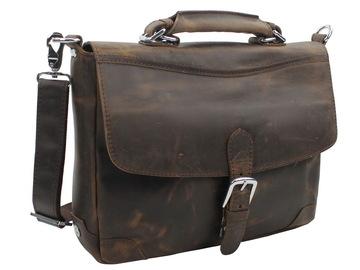 "Buy Now: 15""Full Grain Cowhide Top Layer Leather Laptop Bag L30 Dark Brow"