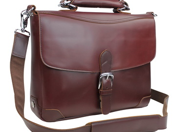 """Buy Now: 15""""Full Grain Cowhide Top Layer Leather Laptop Bag L30 Wine Red"""
