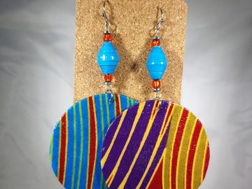 Selling with online payment: Double Paperbead and Fabric Earrings