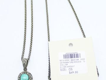 Liquidation/Wholesale Lot: Dozen Club Monaco Silver & Turquoise Stone Necklaces $834 Value
