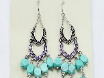 Liquidation/Wholesale Lot: Dozen Club Monaco Silver & Turquoise Stone Drop Earrings $594 Val