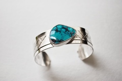 Selling: Mended - Sterling and Cloud Mountain Turquoise Cuff