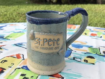 Selling with online payment: St. Pete 16 oz Handmade Pottery Mug with Shells