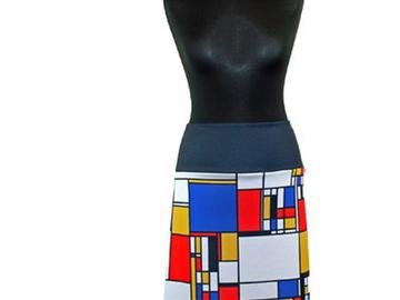 Vente au détail: Jupe trapèze imprimée motif MONDRIAN