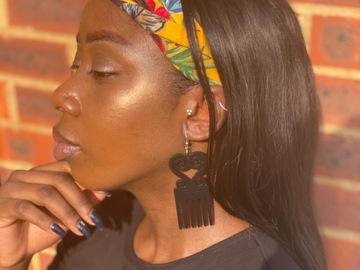 For Sale: Black luv comb earrings