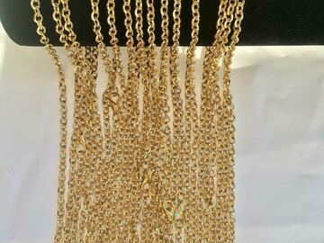 Buy Now: 50 Pcs  Fancy Link Chains 14 kt Gold Plated Made in USA- 18 inch