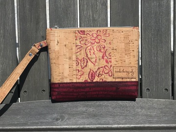 Selling with online payment: Natural Cork Wristlet with Burgundy Flowers