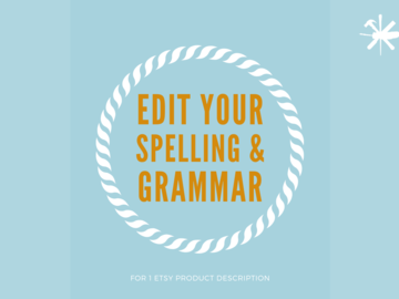 Offering online services: I'll Edit The Spelling And Grammar In 1 Etsy Shop Description