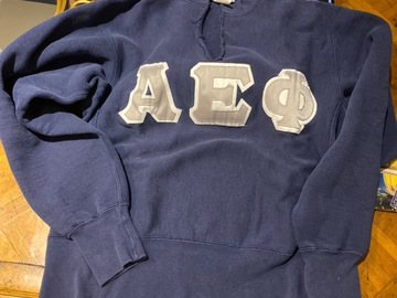 Selling A Singular Item: Silver Letters on Blue Sweatshirt