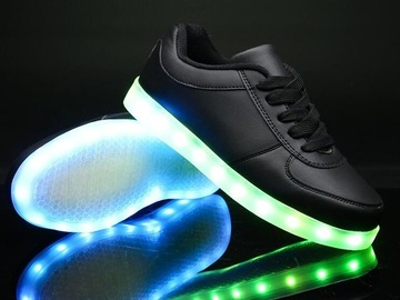 Buy Now: Lot of 12 . Black LED SHOES . Great for Halloween