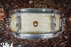 Selling with online payment: 1965 Ludwig Pioneer 5x14 6-Lug Snare Drum White Marine Pearl