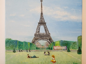 : Oil Painting: Picnic under the tower