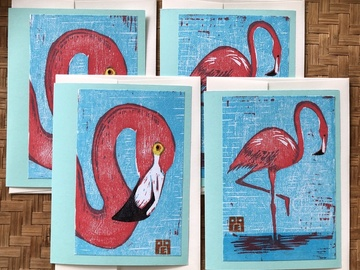 Selling with online payment: Flamingo Woodcut Notecards
