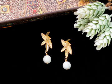 : Gold Willow Turquoise Dangle Earrings