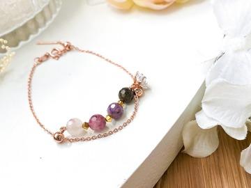 : Rose Gold Plum Blossoms Tourmaline Double Chain Bracelet