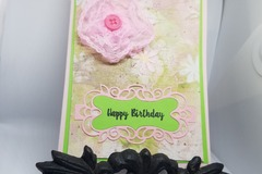 Selling with online payment: Handmade Pink And Green Birthday Greeting Card