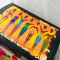 For Sale: 7 CHAKRA GODDESSES. Original Artwork. Wooden Box with hinged lid