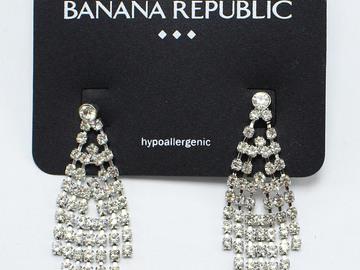 Liquidation/Wholesale Lot: Dozen Banana Republic Silver Rhinestone Drop Earrings