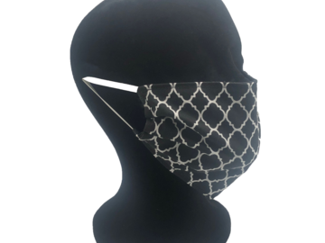 For Sale: Black and White Lattice Design Face Mask