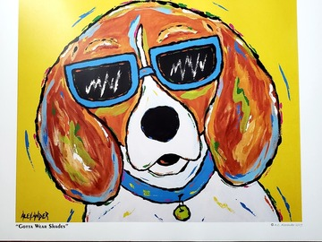 Selling with online payment: Brightly colored print w/ Beagle wearing shades by NC artist