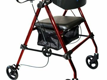 "SALE: Aluminum Folding Rollator 8"" Wheels Red"