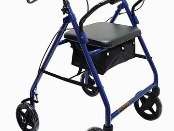 "SALE: Economy Aluminum Rollator with 8"" Wheels Blue"