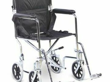"SALE: AMG Transport Chair With Swing-Away Removable Footrests 17"" Seat"