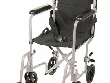 "SALE: Lightweight Transport Wheelchair 19"" Silver 