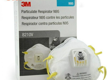 Compra Ahora: AUTHENTIC 3M 8210V Disposable N95 Respirator Face Masks, 4 boxes