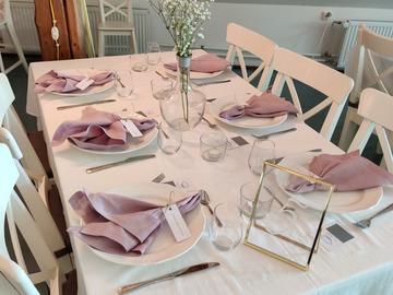 Ilmoitus: Pellava lautasliinat 81kpl, vanha roosa