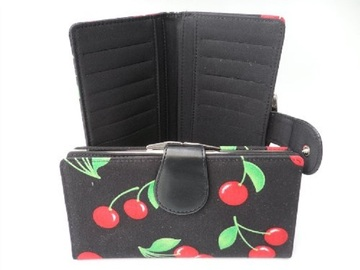 Compra Ahora: LOT OF 5 ROCKABILLY WOMENS CHERRY PRINT WALLET-NIB