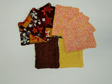 Sale retail: Lot de 10 - lingettes lavables - mixe marron et jaune