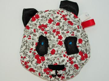 Vente au détail: Bouillotte sèche - petit panda gris et rouge liberty