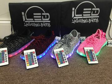 Buy Now: Lot of 240 pairs LED Lightup Shoes mixed styles and sizes.