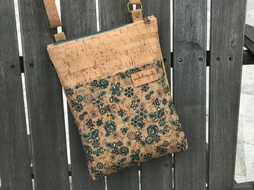 Selling with online payment: Blue Floral Cork Crossbody Bag