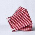 For Sale: Red & White Checked Origami Mask