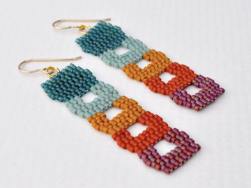 Selling: Arches - Handwoven seed bead drop earrings