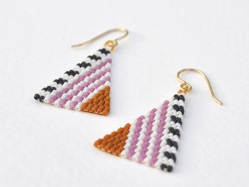 Selling: Striation - Handwoven Seed Bead Earrings