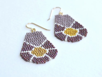 Selling: Color Block Flowers - Handwoven Seed Bead Drop Earrings