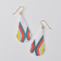Selling: Pinwheel - Handwoven seed bead drop earrings