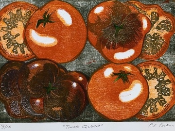 Selling with online payment: Heirloom Tomato Framed Woodblock Print