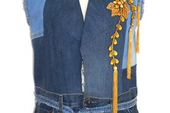 Selling with online payment: Denim Sleeveless Long Jacket, Upcycled, Size M-L