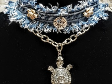 Selling with online payment: Denim Choker with Turtles  and Sand-dollar