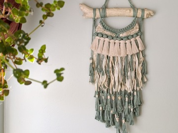 Selling: Macrame Wall Hanging - Seafoam Green with Sari Silk Fringe
