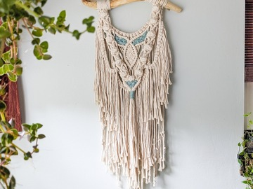 Selling: Macrame Wall Hanging with Driftwood and Sari Silk Weave